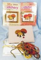 Mushrooms Crewel Embroidery Kits Sunset Designs 4x5 1 Completed Other Is NOS