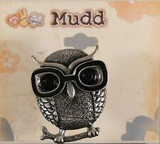 Mudd Stretch Ring - Owl Wearing Oversized Glasses - Pewter Colored - New W/Tags
