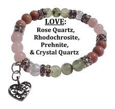 Love:  Rose Quartz, Rhodochrosite, & Prehnite Stretch Bracelet Free Shipping/Hd