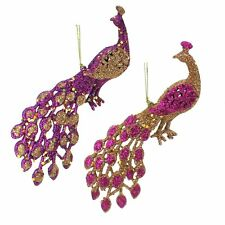 Gisela Graham Set of 2 Gold & Fuschia / Purple Glitter Hanging Christmas T 14941