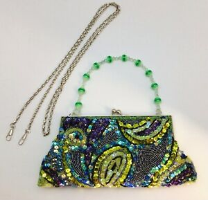 Ladies Fancy Far Nine Green Purple Purse Covered with Beads & Sequins
