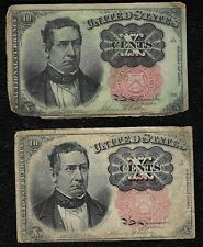 "1874 10 Cents ""Fifth issue"" Fractional Note ""Lot of 2 notes"""