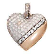 Anhänger mit Edelsteinen aus Weißgold Liebe & Herzen echten