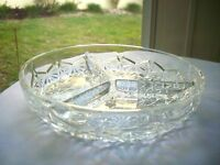 Indiana Glass Daisy Button 3 Section Divided Relish Dish