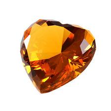 Longwin Amber Heart Crystal Diamond Paperweight Wedding Anniversary Gift Decor