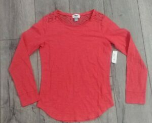 Girls Shirt NEW Size 14 Size XL Old Navy Orange Lace Peekaboo Neck Long Sleeved