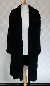 Ladies Vintage 1950s/1960s Black Astrakhan Fur Coat.  Shawl Collar.