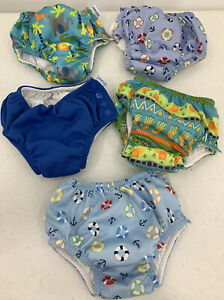 Baby Toddler Boy Iplay Swim Cloth Diapers Reusable Lot Of 5 Sizes 18 Mos - 3T
