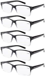 5 Pack Men Vintage Reading Glasses Readers With Spring Hinges Frame +2.0 Black