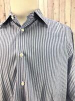 Ermemegildo Zegna Men's 100% Cotton Blue Striped Long Sleeves Shirt Size (43/17)