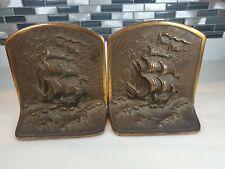 Heavy Antique Bronze Nautical Galleon Bookends