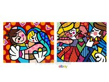 SET OF 2 MEDIUM POSTERS DESIGNED BY ROMERO BRITTO: EMBRACE & SWING * MINT *