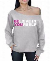 Believe In Yourself Off the shoulder oversized slouchy sweater sweatshirt Neon