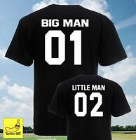 Big Man Little Man Matching T-Shirts Parents Kids Family Gift Football Son Set