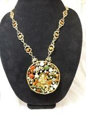 SWOBODA Vintage Carnelian, Carved Jade, Coral & More Asian Pendant Necklace