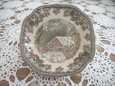 Johnson Bros The Friendly Village  Square Bowl Covered Bridge  VINTAGE