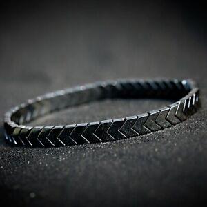 Men's Hematite Arrow Beads Gemstone Stretch Women Bracelets Stacking Jewelry