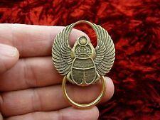 (E-646) Scarab Egyptian bug Eyeglass scrolled brass pin pendant ID badge holder