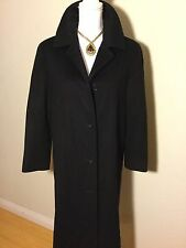 Brooks Brothers Women's Wool & Cashmere Very Long Winter Coat Size 4 In Black
