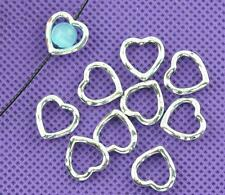 40 x TIBETAN SILVER 14mm HEART BEAD FRAMES SPACERS - Hearts Outline Spacers