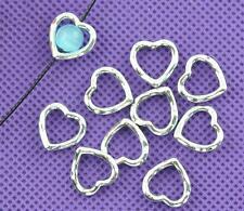 40 x Tibétain Argent 14 mm cœur perle cadres Entretoises-COEURS CONTOUR Entretoises