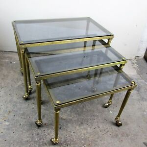 Vintage Nesting Coffee Side Tables Brass Glass Bar Cart Wheels era Maison Bagues