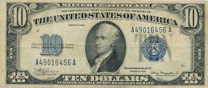 1934  $10 Ten Dollar  Blue Seal Silver Certificate