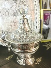 Candy Bowl Candy Dish Glass And Metal Silver Plated * NEW*