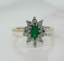 9ct Yellow Gold Emerald and Diamond Cluster Ring (Size N)