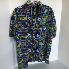 Roundy Bay Mens Large Blue, Yellow, Red, White, & Brown Hawaiian Shirt