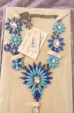 NWT $120 Amrita Singh Navy Turquoise Resin Austrian Crystal Statement Necklace