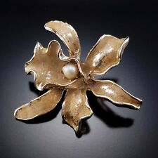 Vintage Orchid Brooch Pearl Sugared Figural Estate Jewelry Pin