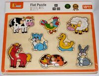 Viga Wooden Farm Animals Chunky Peg Puzzle - Age 18 Months+ - Brand New - 50017