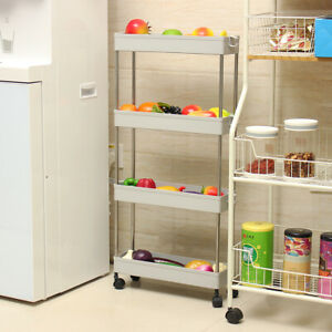 Hot Slim Storage Kitchen Bathroom Laundry Storage Trolley Rack Wheel Space  #