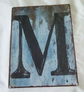 """Letter """"M""""  TIN METAL Wall SIGN Measures ( 9 1/2 x 7 1/2 )"""