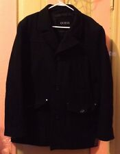 Guess Black Winter Pea Coat Button Men's XL Wool Blend Polyester Acrylic