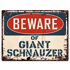Ppdg0024 Beware of Giant Schnauzer Plate Rustic Chic Sign Decor Gift