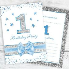 1st Birthday Party Invites - Baby Boy - Glitter Effect Postcard Style (Pack 10)