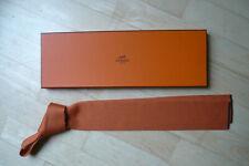 Top! HERMES Krawatte Seltenheit! Hermes Orange Seidenstrick braune Streifen BOX