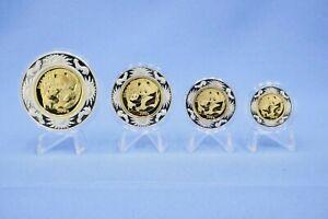 Panda Lunar Prestige Set 2005 1/10+1/4+1/2+1 Oz 999 Gold mit Silber Rand in OVP