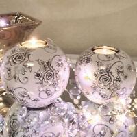 Teelichthalter Blumen Weiß Rund 3er Set Keramik Kerzenhalter 3 Größen ShabbyChic