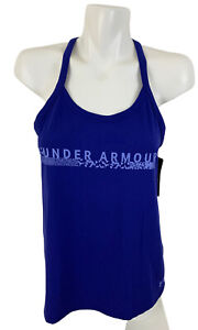 NWT Under Armour Heat Gear Womens Athletic Workout Royal Blue Tank Top Loose MD
