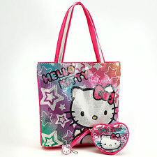 Hello Kitty Girls 3-PC Tote Set - Tote/Coin Purse/Key Charm New