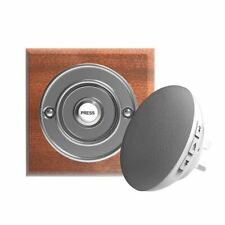 Traditional High Quality Square Wireless Doorbell in Mahogany and Chrome