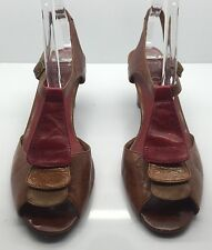 JEFFREY CAMPBELL Ibiza Red Brown Tan Leather Spring Summer Sandal Heel 8.5M CUTE