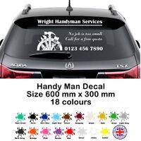 Personalised Handyman Business Rear Window Sticker Car & Van, Decal, Sign