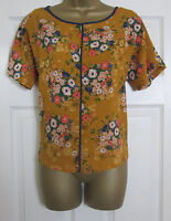 NEW EX M&S Ladies Shell Blouse Top Smart Taupe Animal Print Orange Floral 6-24