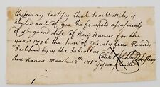 1756 New Haven Ct Samuel Miles Tax Exempt/Abatement Certificate French Ind. War