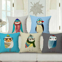 "18"" Cartoon Owl Linen Cotton Throw Pillow Case Cushion Cover Home Sofa Decor"