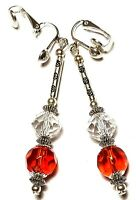 Long Silver Clear Red Crystal Clip On Earrings Glass Bead Drop Dangle